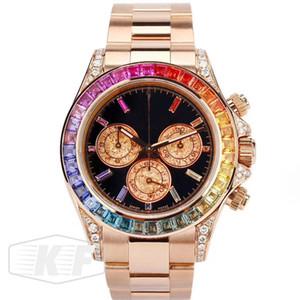 Sapphire Rose Gold Luxo movimento 116599 RBOW mecânico automático para fora congelado Diamonds Mens Relógios relógio de forma Relógios de pulso
