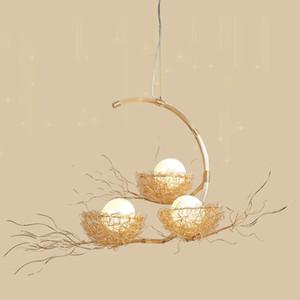 Nordic Creative Chandelier Lights Metal Woven Bird's Nest Three Head Chandeliers Lamps Living Room Cafe Bar Lighting Fixtures