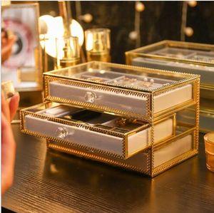 Cajas de almacenamiento Joyas de vidrio con borde de cobre Caja de almacenamiento Pendientes Anillo Collar Caja de acabado Marco Paño a prueba de polvo