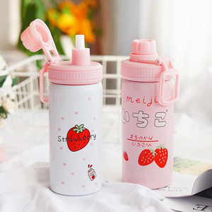 Korean version of yuansufeng strawberry stand heat preservation cup female personality art portable cup straw custom gift