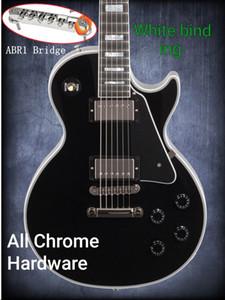 Boutique principale noire faite sur commande de guitare ébène Fretboard Frets Reliure ABR 1 Pont Guitares électriques Hardware Chrome Les nouveaux boutons noirs style