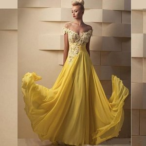 Plus Size Yellow Chiffon Prom Dresses Special Occasion Evening Dress Vestidos De Soiree Party Gowns vestido de novia Floor Length
