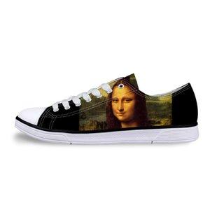 Men Casual Painting Art Print Shoes Male Lace-up Vulcanized Low-Top Canvas Shoe Flats for boys Leonardo da Vinci master pieces