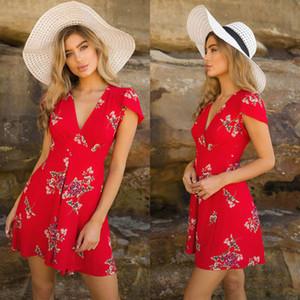 Bayan Boho Plaj Yaz sundress Casual Parti Kokteyl Kısa Kollu Çiçek Elbise zarif playa v yaka harajuku vestido femme
