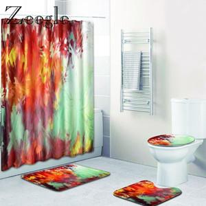 Zeegle colorato Bagno Tenda con Mat Set 4 pezzi igienici Rug Set igienici U Tipo tappeto antiscivolo doccia Zerbino lavabile vasca da bagno