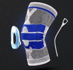 mejor equipo de protección de rodilla de punto de silicona protección de protección de la rodilla primavera montar Baloncesto rodillera médica de fútbol Deporte Fútbol