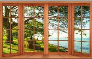 Fenêtres du sol au plafond lac bois 3d mur de fond moderne papier peint pour le salon
