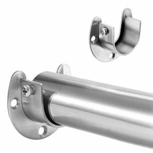 U şeklinde Paslanmaz Çelik Giyim Raylı Dolap Raylı Perde Çubuk Duş Perde Dolap Rod End Dolap Pole Soketler Destekler