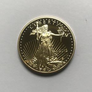 10 개 비 자기 자유 20,112 동전 동상 아름다움 독수리 배지 골드 허용 장식 동전을 출시 32.6 mm 자유 강하를 도금