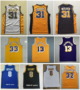 Bordado de la mejor calidad Vintage Sports Jerseys con 1996-97 Patch Fitness Jersey Blanco Negro Azul Amarillo Retro Reggie # 31 Camisas Miller