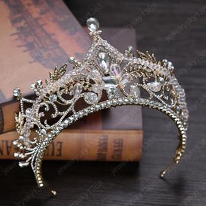 New Luxury Crystal Bridal Crown Tiaras Vintage Golden Rhinestone Crown for Bride Headbands Wedding Hair Accessories