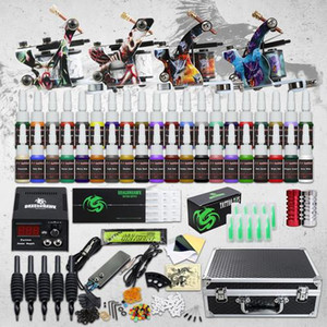 Complete Tattoo kit 4 Machine Guns 40 Color Inks Power Supply Needles Tips Grips Set