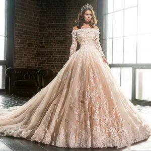 Дизайнер шампанское лодка шеи длинными рукавами кружева аппликации бальное платье Свадебные платья 2019 с плеча цветы пышные Quinceanera платье BA9900