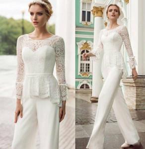 Bianco Mother 's vestito di pantaloni con pizzo lungo maniche Sash Ribbon Piano Lunghezza tuta Invitato a un matrimonio abiti formali Evening Party Wears