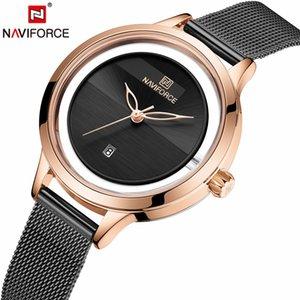 NAVIFORCE Mulheres novas senhoras relógios simples de pulso de quartzo impermeável Moda Pulseira Relógio presente 2019