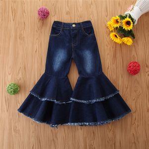 Calças 2-6Y criança crianças Bebés Meninas Jeans Bell-fundo quadrado Leg Denim Calças 2020 Kid Autumn Baby Girl Alargamento Sólidos calças calças