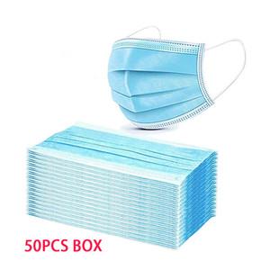 50pcs / boîte Masque OMC Fabricant en magasin dans l'entrepôt aux Etats-Unis Earlaoop and Meltblown Filtre jetable 3Ply Masque facial