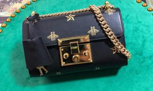 Realfine888 5A 432182 20см Padlock Bee Star Малый Плечо Мини сумка для женщин, с пылесборника + коробка + серийный номер, DHL Бесплатная доставка