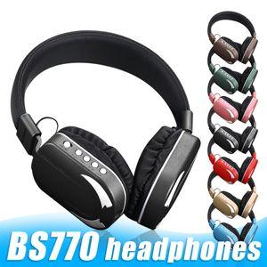 BS770 سماعة بلوتوث اللاسلكية سماعات ستيريو Casque على سماعة مع ميكروفون سماعة LED الخفيفة مع صندوق البيع بالتجزئة