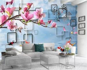Custom 3d Flower Wallpaper Connected Frame Delicate Magnolia Flower Beautiful Living Room Bedroom Decoration Mural Wallpaper