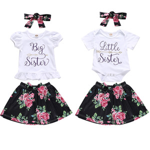 Nueva girs Ropa para niños Vestido Summer Litter Big Sister Carta Camisa + Flor Falda + Diadema Chica niños Ropa elegante setsd