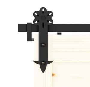 DIYHD 꽃 컷 소박한 블랙 아이언 헤비 듀티는 헛간 문 하드웨어 오 피트 - 16 피트 싱글 / 더블 도어 트랙 키트를 슬라이딩