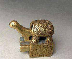 Antik saf bakır küçük kaplumbağa mühür Wenfang kasaba cetvel antik eski bronz ayrılabilir eski macun