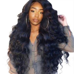 Negro Moda para mujer de alta temperatura peluca de las señoras de seda del frente del cordón del pelo del bebé No Trace rayita largo Gran pelo de la onda Regalo Red para el cabello 1 uds