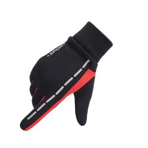 Reflektierende Winter warmes windundurchlässiges Motorrad Wasserdichte Anti-Rutsch-Skifahren Thermal Screen-Handschuhe - Rot XL