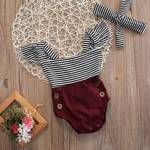 emmababy Yenidoğan Çocuk Kız Bebek giysileri çizgili kolsuz pacthwork Tulum bodysuit + Kafa Giyim