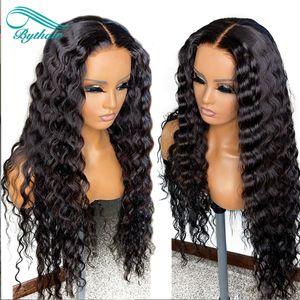 Bythair completa encaracolado humano laço perucas de cabelo com bebê cabelos Pré arrancada Natural Hairline Natural Onda peruca dianteira do laço Nós descorados