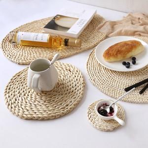 Japon Dokuma Masa Mat Doğal Mısır Kürk Isıya Dayanıklı İçecek Masa Mats HHA1157 Yemek Pad Sadelik Çay Coasters Pot Güveç Pads