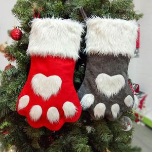 Nuovo Partito di Natale del gatto della zampa del cane calza Hanging calzini Albero Ornament Decor Calze peluche di Natale Calze kdis regalo Candy Bag HH9-2330