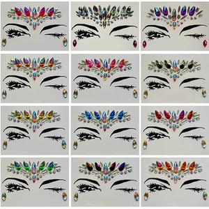 Алмаз стикер Богемии стиль блеск Кристалл татуировки наклейки для женщин лицо лоб Пастер свадебные украшения 13 стилей RRA1183