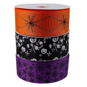 2Yards 75mm Halloween ruban gros-grain araignée fantôme Web ruban imprimé solide Habillement couture ruban bricolage cheveux Archets Accessoires
