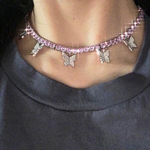 CZ Tennis Chain CZ Cholebone Ожерелье Ожерелье Простое Алмазная Бабочка Choker Ожерелье Ледяные Ожерелье Bling Женщины Ювелирные Изделия Партия Подарок