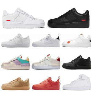 supreme nike air force 1 one forces forced shoes airforce Sapatos de grife triplo preto branco mulheres homens Chaussures mens formadores casual sports sneakers platform