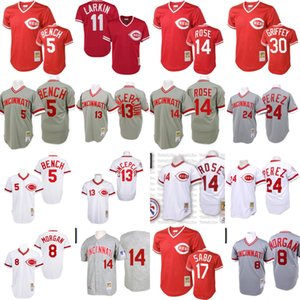 Hombres Cincinnati Rojos Johnny Bench, Joe Morgan camiseta de David Concepción Pete Rose Chris Sabo, Tony Pérez, Ken Griffey retroceso barato Béisbol 03