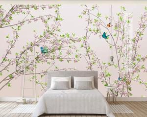 güzel manzara Plum Blossom Şeftali Çiçeği Çiçek Dallar Yeni Çin Arkaplan Duvar 3d duvar kağıtları