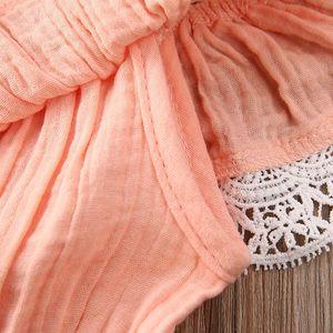 9M-5T Toddler Kids Baby Girls Clothes Summer Off shoulder Lace Strap Romper Princess Cotton Lien Jumpsuit Girls Summer Outfit