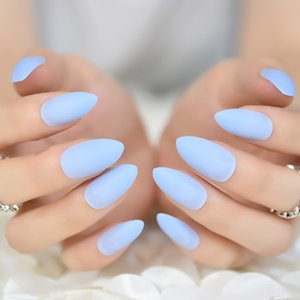 Good Feeling Light Sky Blue Matte Frosted Stiletto Oval False Nails Art اللوز مدببة على غطاء كامل مصمم مسبقًا نصيحة وهمية