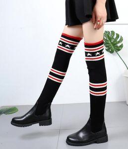 Lastik Çorap Çizme İnce Kumaş şemsiye botfortlar Uyluk Topuk Kış Patik Ayakkabı Örme Knee Üzeri Yağmur Botları Kadınlar