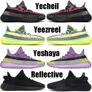 Kanye West Yecheil Yeshaya Schwarz Static Reflective Laufschuhe der Frauen Männer Lehm Gid Glow Zebra Wolke Weiß Citrin Designer-Turnschuhe 36-48