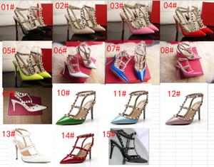 Sandalias calientes de verano, señoras de lujo, tacones altos, moda con clavos metálicos, hermosos zapatos de mujer, puntiagudos con cuero