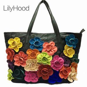 Lady Sheep Skin Tote Bag Fashion 3D Floral Daily Shoulder Bag Casual Designer Bohemian Boho Style Colorful Top-handle