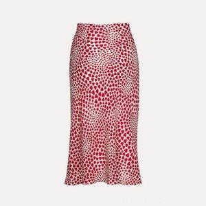 Klacwaya New Girls Silk Pencil Skirts Women Fashion Heart Print High Waist Slim Skirts Women's Clothing Skirt Ladies Chic Red Leopard Boho M