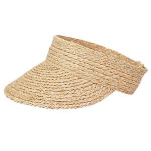 Mesdames Anti-Uv Roll Up pare-soleil Chapeau de paille femmes raphia Sun Caps Visor