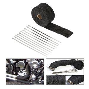KKmoon Egzoz Borusu Wrap Bandaj Header Isı Wrap Dayanıklı Boruyu 10 Paslanmaz Çelik Bağları Araba Motosiklet için 5 m x 5 cm