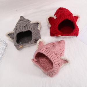새로운 가을 겨울 아이 니트 모자 만화 귀 아기 비니 소년 소녀 아기 아이 두개골 모자 모자 귀마개 어린이 모자 15231