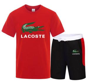 Alta Qualidade Men Casual Set Moda 2 PCS terno de suor manga curta de algodão T-shirt Shorts Conjuntos Masculino Sportswear Treino Verão Sportsuit